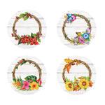 Floral Wreath Seals, Set of 48